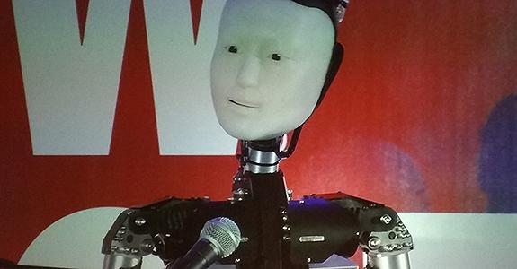 Um dos androides que o professor Ishiguro levou à Austin (Crédito: Igor Ribeiro)